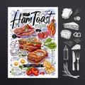 Food poster, ad, fast food, set, menu, toast, sandwich, ham, pork, bacon, grilled eggs, lettuce, snack. Yummy cartoon Royalty Free Stock Photo