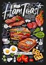 Food poster, ad, fast food, set, menu, toast, sandwich, ham, pork, bacon, grilled eggs, lsnack. Yummy cartoon style Royalty Free Stock Photo