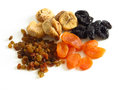Food raisins dried apricots dried figs and prunes on white background Stock Photography