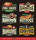 Food restaurant labels, logos and stickers collection Royalty Free Stock Photo
