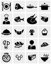 Food and restaurant vector icon set on gray icons grey background eps file available Royalty Free Stock Image