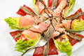 Food salmon anchovy salad smoked anchovies pepper and tuna spanish Royalty Free Stock Photo