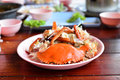Food scraps of boil crab seafood on dish thai thailand Stock Photo