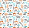 Food seamless doodles pattern Royalty Free Stock Images