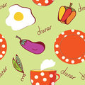 Food seamless pattern with egg, plate, tea Stock Image