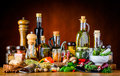 Food Seasoning Spices, herbs and Oil Royalty Free Stock Photo