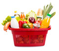 Food set basket full off fruits and vegetables isolated over white Royalty Free Stock Photography
