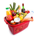 Food set basket full off fruits and vegetables isolated over white Royalty Free Stock Photos
