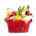 Food set basket full off fruits and vegetables isolated over white Royalty Free Stock Photo