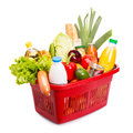 Food set basket full off fruits and vegetables over white Stock Photo