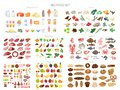 Food set. Collection of various meal, fish and meat Royalty Free Stock Photo