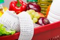 Food set red basket full of goods very long cashier s check Royalty Free Stock Photo