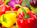 Food set red glossy pepper close up photo fresh vegetables Royalty Free Stock Photo