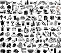 Food set of supermarket and bar symbols Stock Photography