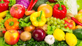 Food set various fruits and vegetables close up photo Stock Photo