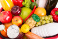 Food set various fruits and vegetables close up photo Stock Images