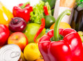 Food set various fruits and vegetables close up photo Stock Photography
