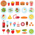 Food set vector of isolated on white Stock Photo