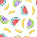 Food simple sketh drawn hand seamless pattern with banana, watermelon, red, yellow and purple colors. For wallpapers