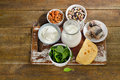 Food sources of calcium healthy and diet eating top view Stock Photo