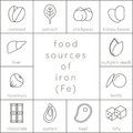 Food sources of iron Royalty Free Stock Photo