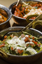 Food spinach and other indian in bowls Stock Images