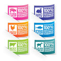 Food stickers colourful beef chicken pork lamb rabbit and fish with freshness and quality guaranteed stamps Stock Image