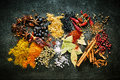 Food still life of aromatic and pungent spices Royalty Free Stock Photo