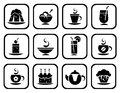 Food symbols set stylized isolated on a white background Royalty Free Stock Photo
