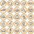 Food symbols shadowed Royalty Free Stock Photos