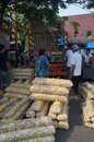 Food traders loading the in the city of solo central java indonesia Royalty Free Stock Photos