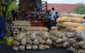 Food traders loading the in the city of solo central java indonesia Royalty Free Stock Images