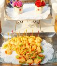 Food in the tray for serve as a cocktail menu. Royalty Free Stock Photo