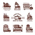 Food truck logo. Street festival van fast catering outdoor kitchen vector labels and badges monochrome style