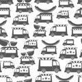 Food trucks with sausage - food seamless pattern design