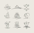 Food and utensils set of vector icons Royalty Free Stock Images