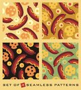 Food vector seamless patterns set Royalty Free Stock Photo