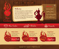 Food vintage design template with fire style vector illustrations Royalty Free Stock Photos