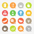 Food web icons set color speech clouds Stock Image