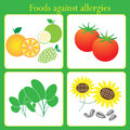 Foods against allergies vector on green background Royalty Free Stock Image