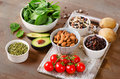 Foods containing potassium on a wooden table Royalty Free Stock Images