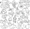 Foods vector illustration of food collection in black and white Stock Photos