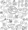 Foods vector illustration of food collection in black and white Royalty Free Stock Photography