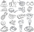 Foods vector illustration of food collection in black and white Stock Images