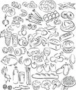 Foods vector illustration of food collection in black and white Stock Photo