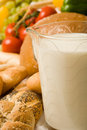 Foodstuff composition with bread and milk 2 Royalty Free Stock Photos