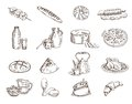 Foodstuffs set of hand drawn vector sketches on a white background Royalty Free Stock Images