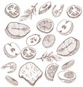 Foodstuffs set of hand drawn vector sketches on a white background Stock Photography