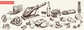 Foodstuffs set of hand drawn vector sketches on a white background Royalty Free Stock Photography