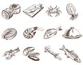 Foodstuffs set of hand drawn vector sketches on a white background Royalty Free Stock Photo